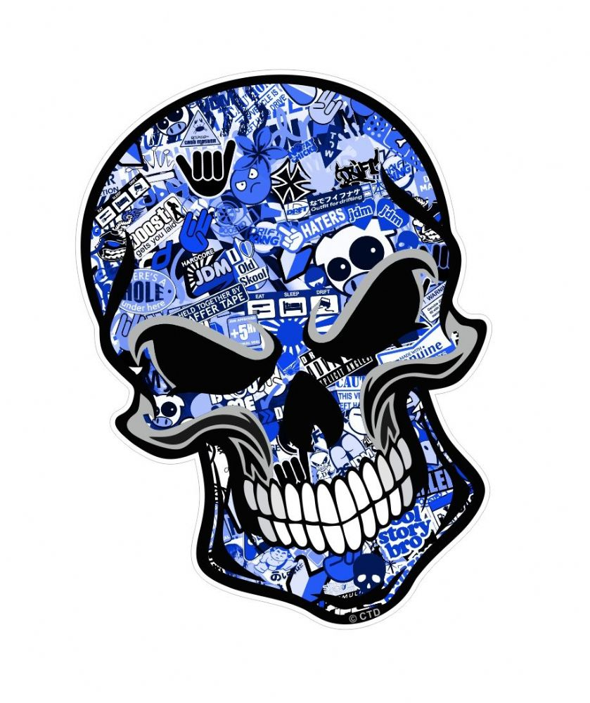 Gothic Biker Skull With Blue Sticker Bomb Motif External